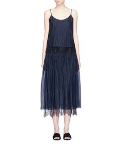 MS MIN | Lace Trim Layered Silk Crépon Dress