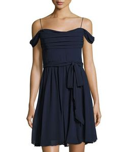 Vera Wang | Off-The-Shoulder Chiffon Cocktail Dress