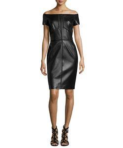 J. Mendel   Off-The-Shoulder Combo Dress Noir