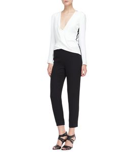 J. Mendel | Long-Sleeve Silk Jumpsuit Ivory/Noir