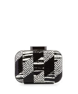 Badgley Mischka | Brenda Snake-Embossed Leather Evening Clutch Bag Black/White