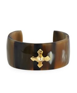 Ashley Pittman | Tani Wide Horn Bronze Cross Cuff Bracelet