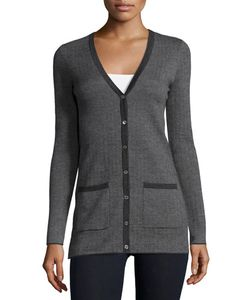 Michael Kors Collection | Cashmere Herringbone Cardigan
