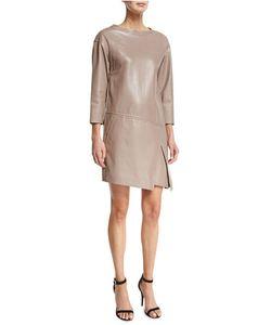 J. Mendel   3/4-Sleeve Leather Sheath Dress Smoky Quartz