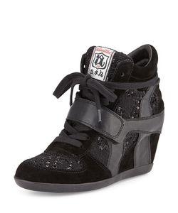 Ash | Bowie Sequined Hidden-Wedge Sneaker Black