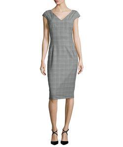 Michael Kors Collection | Cap-Sleeve Glen-Check Sheath Dress