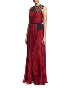 J. Mendel   Sleeveless Embellished Plisse Gown
