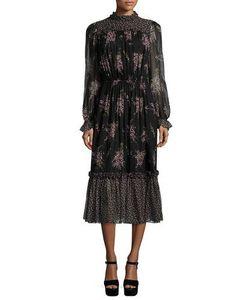 Michael Kors Collection | Long-Sleeve Floral-Print Midi Dress