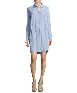 Halston Heritage | Long-Sleeve Drawstring-Waist Shirtdress