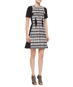 Prabal Gurung | Striped Tweed Paneled Dress