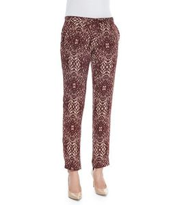 Haute Hippie | The Tailored Slim Shady Pants Shadow Snake Merlot