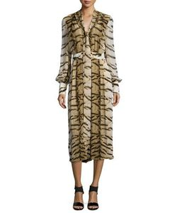 Roberto Cavalli | Tiger-Print V-Neck Wide-Leg Jumpsuit