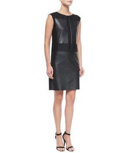 Agnona | Leather Wool/Silk Combo Sheath Dress