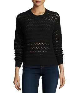 J Brand Jeans | Flower Long-Sleeve Crochet Sweater