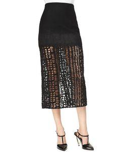 Jason Wu | Cashmere-Blend Lace Combo Midi Skirt