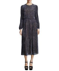 Michael Kors Collection | Long-Sleeve Drop-Waist Devore Dress