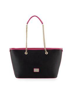 Love Moschino | Printed Saffiano Leather Shoulder Bag Black