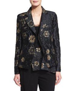 Donna Karan | Metallic Floral-Embroidered Jacket Black/Gold