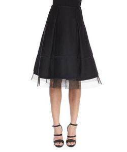 Donna Karan | Sculpted Tulle-Trimmed Full Skirt