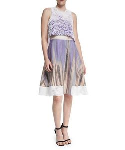 Prabal Gurung | Sleeveless Crop-Top Dress Midnight Purple