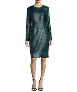 J. Mendel | Long-Sleeve Jewel-Neck Sheath Dress