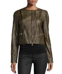 Kaufmanfranco | Long-Sleeve Cropped Leather Jacket