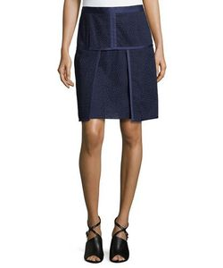 J. Mendel   Envelope Skirt With Lace Embroidery Ivory