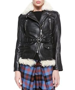 Denim x Alexander Wang | Shearling Vachetta Zip Moto Jacket