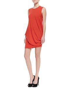 Denim x Alexander Wang | Silk Side Twisted-Drape Sleeveless Dress