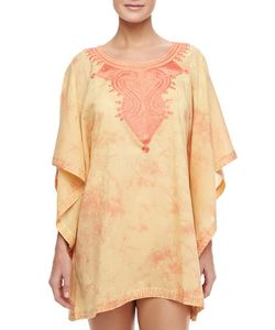 Florabella | Short Embroidered-Neck Coverup Caftan