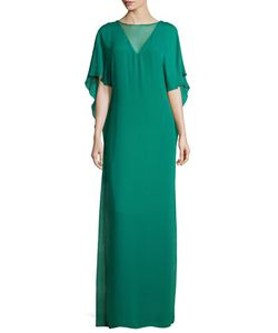 Halston Heritage | Illusion-Neck Caftan-Style Evening Gown