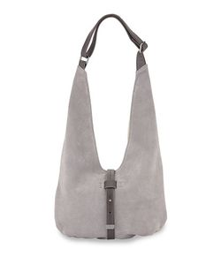 Halston | Front-Closure Suede Hobo Bag Gravel Multi