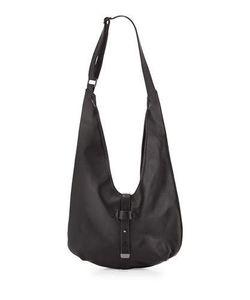 Halston | Front-Closure Leather Hobo Bag Black