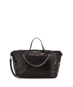 Halston | Leather Satchel Bag With Chain Detail Black