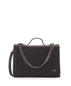 Halston | Leather Shoulder Bag With Chain Detail Black