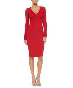 Donna Karan | Long-Sleeve V-Neck Fitted Dress