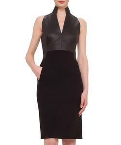 Akris | Leather Combo Sheath Dress