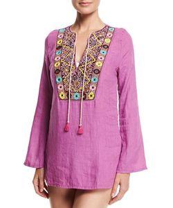 Ondademar | Plumage Embroidered Tunic Coverup