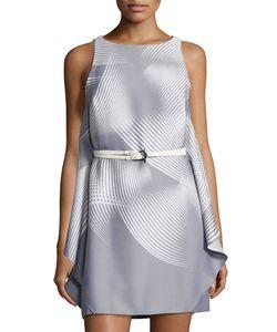 Halston Heritage | Sleeveless Graphic-Print Belted Dress