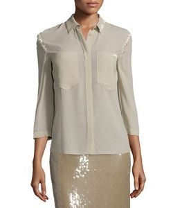 Nina Ricci | 3/4-Sleeve Button-Front Blouse