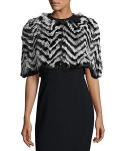 Jocelyn | Chevron-Pattern Fur Wrap Shrug T Shade