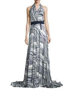 Carolina Herrera | Gwen Striped Silk Halter Dress