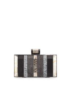 Halston | Embossed Minaudiere Evening Clutch Bag Black Multi
