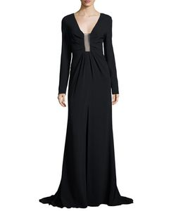 Thakoon | Long-Sleeve Sheer-Inset Gown