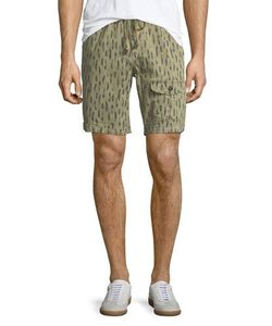 Michael Bastian | Feather-Print Drawstring-Waist Shorts