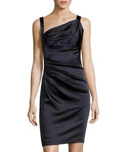 Vera Wang | Sleeveless Asymmetric-Neck Ruched Dress