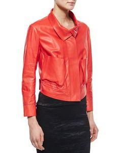 Donna Karan | Lamb Leather Bracelet-Sleeve Jacket