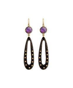 Ashley Pittman | Shimo Amethyst Dark Horn Teardrop Earrings