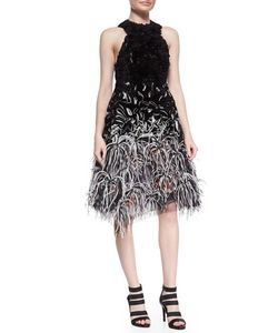 Prabal Gurung | Ruffled Organza Feather-Embellished Dress Womens Size 8 Black