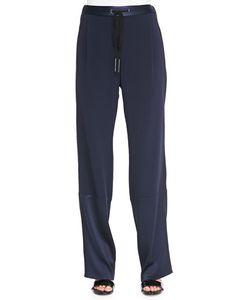 Derek Lam 10 Crosby   Track Pants With Drawstring Midnight Black Womens Size 2